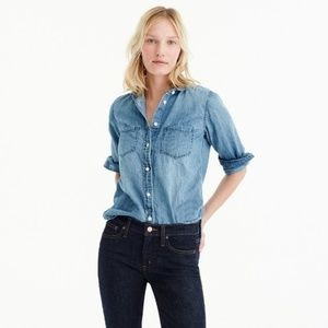 J Crew Classic Chambray Shirt in Perfect Fit S